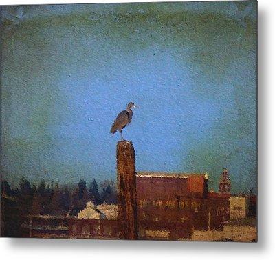 Blue Heron Sky Painted Metal Print