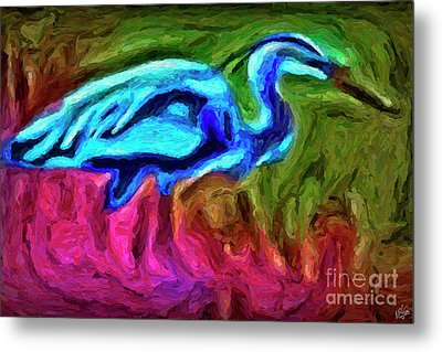 Metal Print featuring the photograph Blue Heron by Walt Foegelle