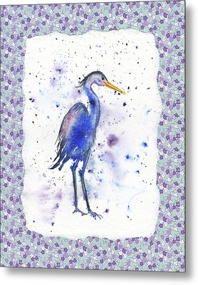 Metal Print featuring the painting Blue Heron Watercolor by Irina Sztukowski