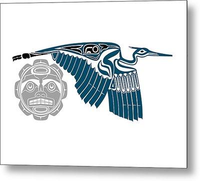 Blue Heron With Moon Metal Print