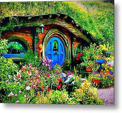 Blue Hobbit Door Metal Print