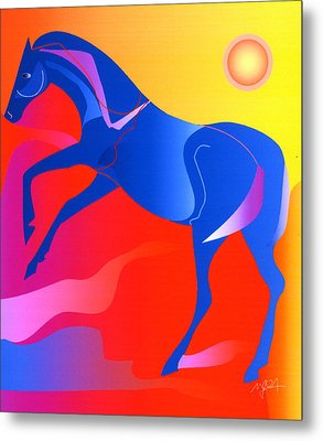 Blue Horse Metal Print by Mary Armstrong