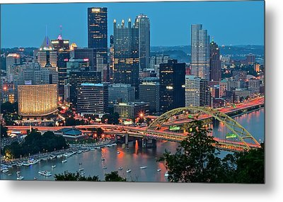 Blue Hour In Pittsburgh Metal Print by Frozen in Time Fine Art Photography