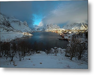 Metal Print featuring the photograph Blue Hour Over Reine by Dubi Roman