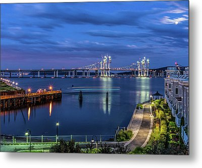 Blue Hour Over The Hudson Metal Print