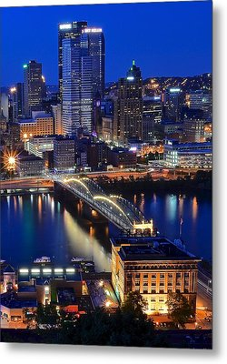 Blue Hour Pittsburgh Metal Print by Frozen in Time Fine Art Photography