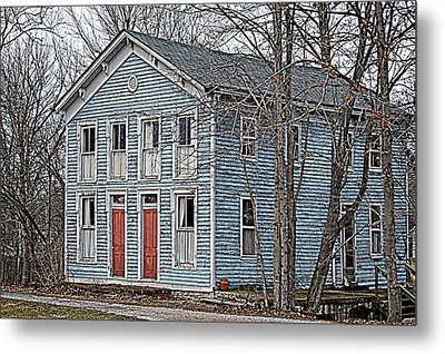 Blue House On The Canal Metal Print by Mike Stanfield