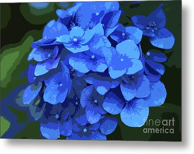 Blue Hydrangea Stylized Metal Print by Sharon Talson