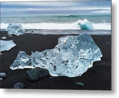 Blue Ice In Iceland Jokulsarlon Metal Print