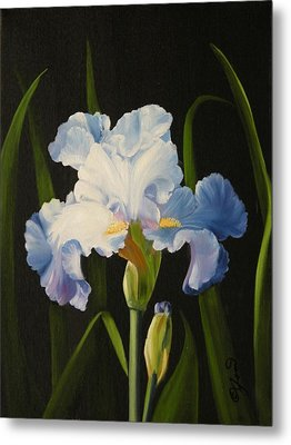 Metal Print featuring the painting Blue Iris by Joni McPherson