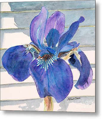 Metal Print featuring the painting Blue Iris by LeAnne Sowa
