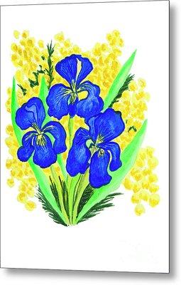 Blue Irises And Mimosa Metal Print