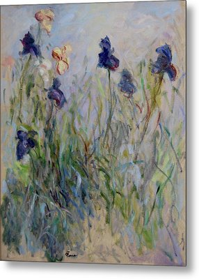 Blue Irises In The Field, Painted In The Open Air  Metal Print