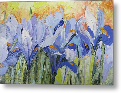 Blue Irises Palette Knife Painting Metal Print