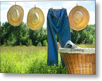 Blue Jeans And Straw Hats On Clothesline Metal Print by Sandra Cunningham