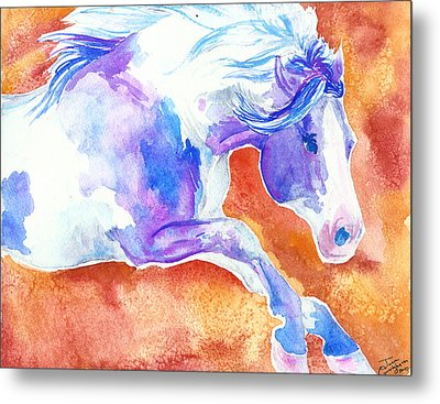 Metal Print featuring the painting Blue Jumping Paint by Jenn Cunningham