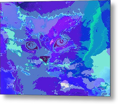 Metal Print featuring the digital art Blue Kitty by Lola Connelly