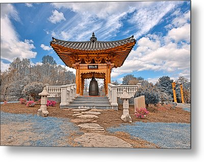Blue Korean Bell Garden Metal Print by Nicolas Raymond
