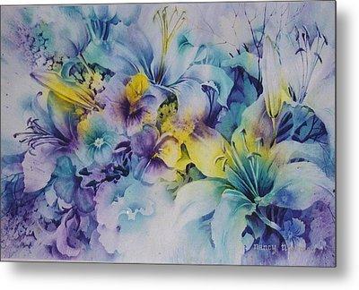 Blue-lilies Metal Print by Nancy Newman