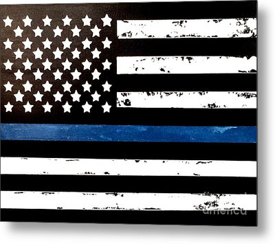 Metal Print featuring the painting Blue Line Flag by Denise Tomasura