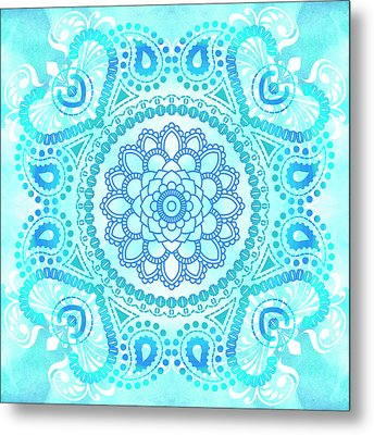 Metal Print featuring the painting Blue Lotus Mandala by Tammy Wetzel