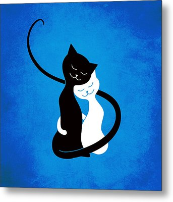 Blue Love Cats Metal Print