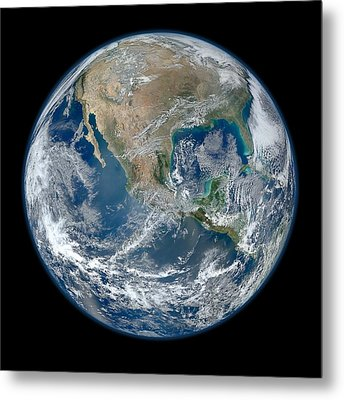 Blue Marble 2012 Planet Earth Metal Print by Nikki Marie Smith