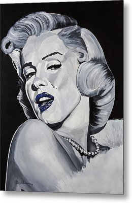 Blue Marilyn  Metal Print by Brian Broadway