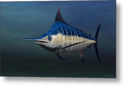 Metal Print featuring the painting Blue Marlin by Walter Colvin