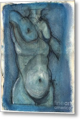 Metal Print featuring the painting Blue Marvel, Superhero - Male Nude by Carolyn Weltman