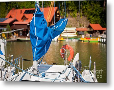 Blue Mast Covering Sheath Foreground Metal Print by Arletta Cwalina