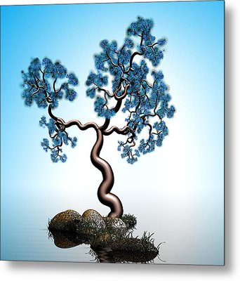 Blue Math  Tree 2 Metal Print by GuoJun Pan