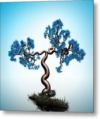 Blue Math  Tree Metal Print by GuoJun Pan