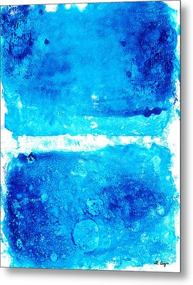 Blue Modern Art - Two Pools - Sharon Cummings Metal Print by Sharon Cummings