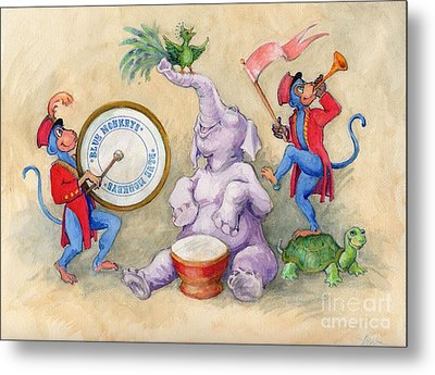 Metal Print featuring the painting Blue Monkeys Circus by Lora Serra