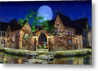 Blue Moon Painted Metal Print by Cynthia Decker