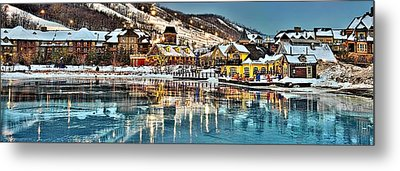 Blue Mountain Ice Reflection Metal Print