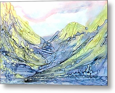 Blue Mountains Alcohol Inks  Metal Print by Danielle  Parent