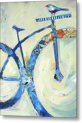 Blue Mt Bike And Bird Metal Print