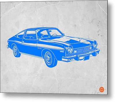 Blue Muscle Car Metal Print