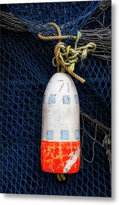 Blue Net And Orange And White Buoy Metal Print by Carol Leigh