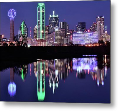 Metal Print featuring the photograph Blue Night And Reflections In Dallas by Frozen in Time Fine Art Photography