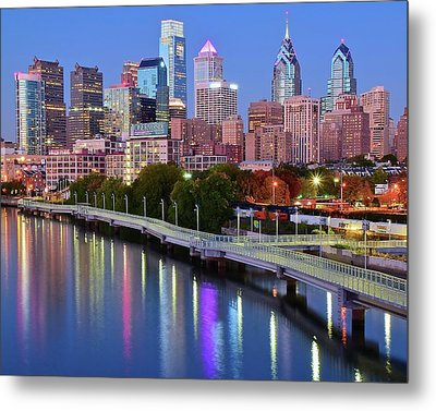 Metal Print featuring the photograph Blue Night Lights In Philly by Frozen in Time Fine Art Photography