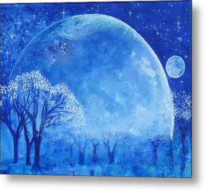 Blue Night Moon Metal Print by Ashleigh Dyan Bayer