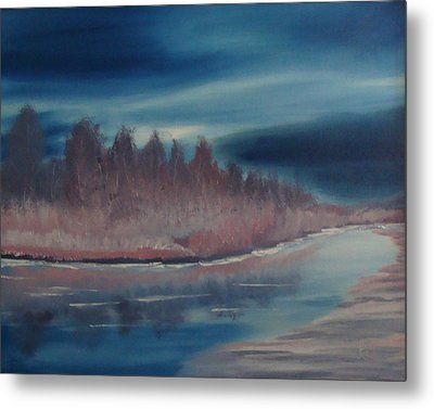 Metal Print featuring the painting Blue Nightfall Evening by Rod Jellison