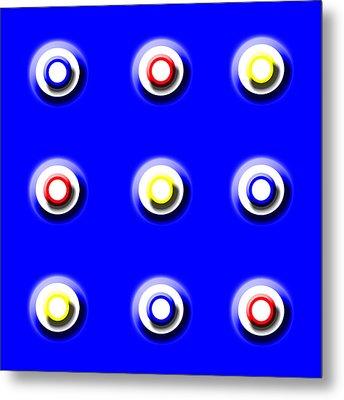 Blue Nine Squared Metal Print
