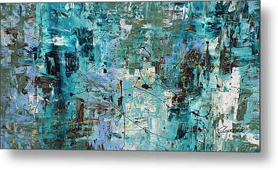 Metal Print featuring the painting Blue Ocean - Abstract Art by Carmen Guedez