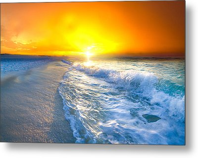 Blue Ocean Landscape Wave Photography Red Surise Metal Print