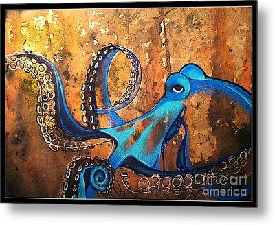 Blue Octopus Metal Print by Elizabeth Dixon