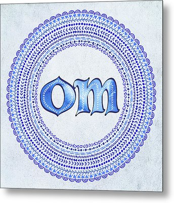 Metal Print featuring the painting Blue Om Mandala by Tammy Wetzel